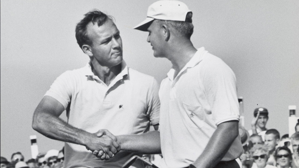Arnold Palmer, left, congratulates Jack Nicklaus during the 1962 U.S. Open at Oakmont.