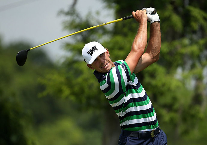 Billy Horschel tees off on the second hole during the second round of the Zurich Classic of New Orleans at TPC Louisiana