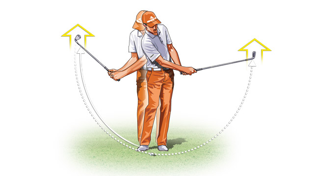 "Narrow your stance and try to ""draw"" the ball by getting the toe of the club to point skyward in your backswing and your finish."