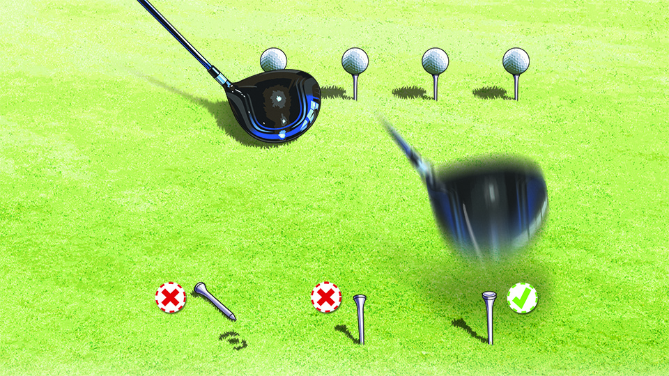 Tee up four balls about three inches apart, then hit all four, one at a time. Then check the tees -- they reveal a lot about your swing path.