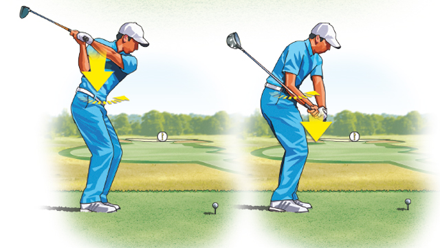 In the downswing, your arms should be responsive to your hip movement—allowing your arms or shoulders to lead is a huge power drain.
