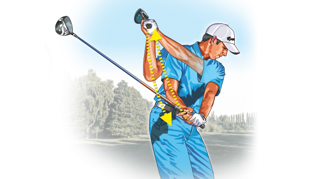 To set up a good lag move, try to feel as though you're dropping your arms straight down to the ground as your hips unwind toward the target. This will put your hands far ahead of the clubhead as you unwind into impact.
