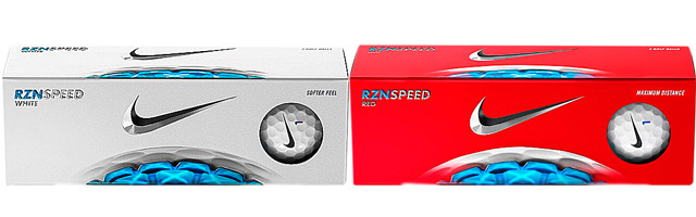Nike RZN Speed Red and RZN Speed White Golf Balls
