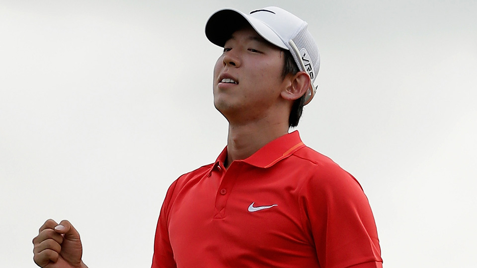 Seung-Yul Noh celebrates after his win during the final round of the 2014 Zurich Classic of New Orleans.