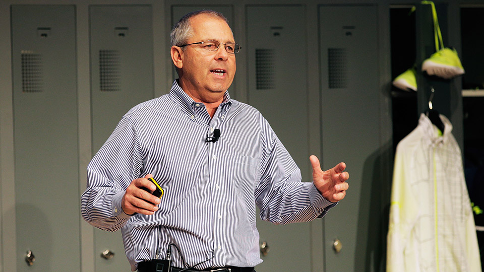 Mark King, President of adidas Group North America speaks to investors on March 26, 2015 in Herzogenaurach, Germany.