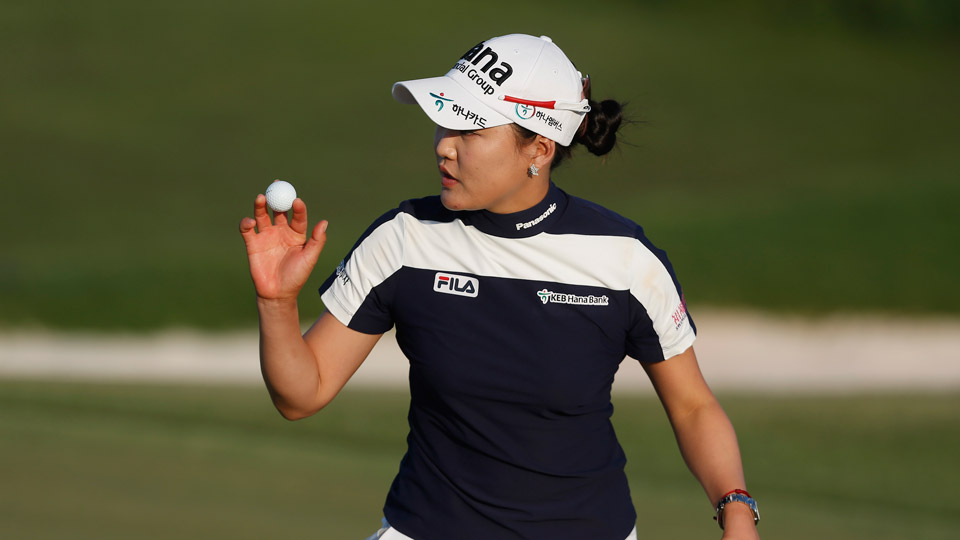 So Yeon Ryu of South Korea makes a birdie putt on the sixth hole during the second round of the Yokohama Tire Classic.