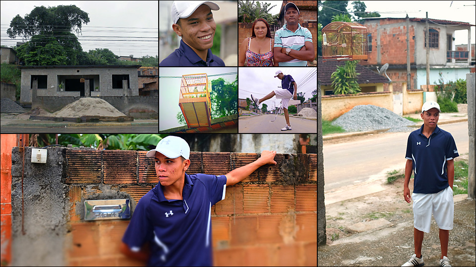 Breno and his parents hope that golf, and a college education, will one day help the family finish building their dream house (top left).