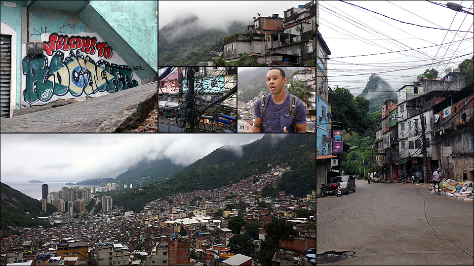 Rocinha favela is home to an estimated 106,000 Brazilians, including Lopes (center right).