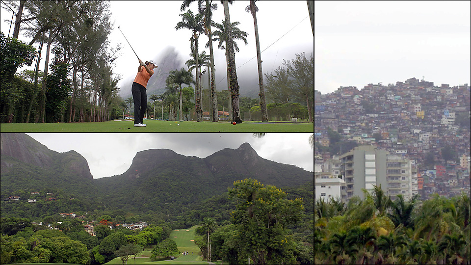 Gavea Golf Club is scenic and serene — and flanked by Rocinha (far right), the nation's largest favela.