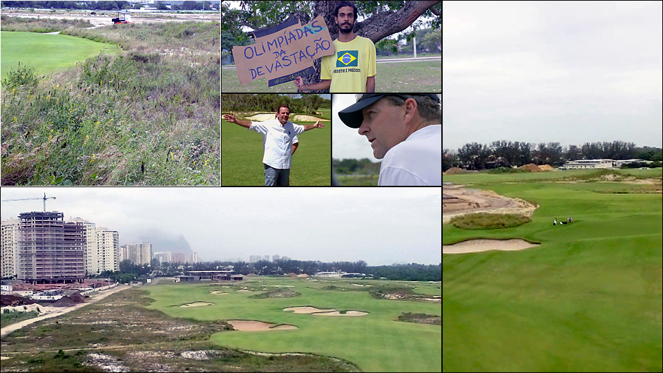 The Rio Olympic Golf Course is ready for the spotlight. At the center of the controversy was activist Pedro Cunha (center top), and Rio Mayor Eduardo Paes (center left). Caught in the middle was architect Gil Hanse (center right).
