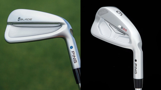The new Ping iBlade prototype (left) and the Ping S55 iron.