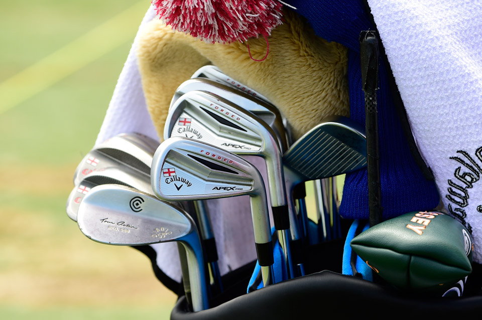 Masters champ, Danny Willett, stamps his Callaway Apex Pro irons (5-9) with the flag of England. An old Cleveland 588 53° wedge partially blocks the Callaway Mack Daddy 2 Tour Grind wedges.