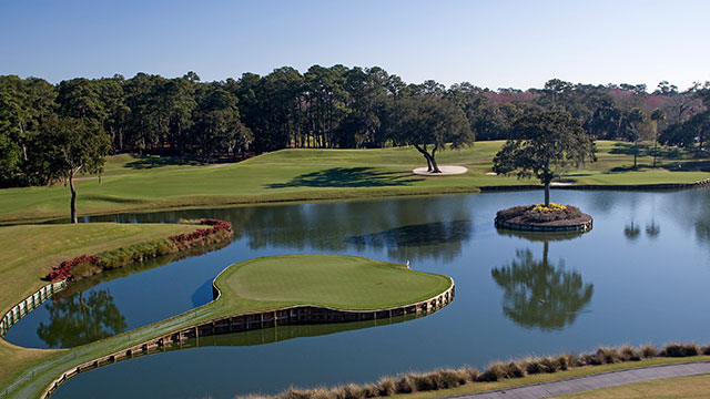 A view of the 17th hole of The Players Stadium Course at the TPC Sawgrass.