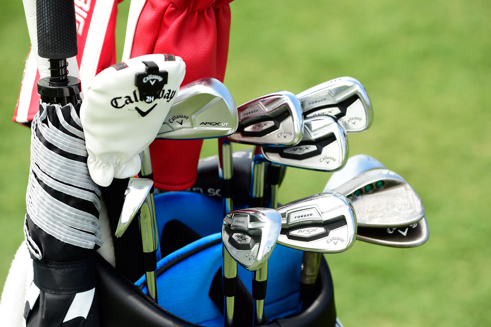 Callaway staffer Phil Mickelson is set for the Players Championship with an Apex UT 21° driving iron, Apex Pro 16 irons (5-PW) and Mack Daddy PM-Grind wedges (56°, 60°, 64°).