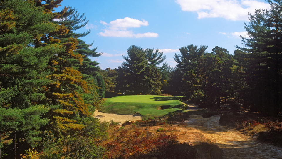 Pines beautifully frame the short but treacherous par-3 10th.