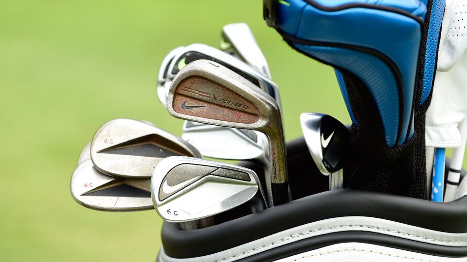 Nike staffer Kevin Chappell's short-game tools consist of Vapor Pro Combo irons (4-6), Vapor Pro irons (7-9), and Engage wedges. However, an older, rusty VR Forged Pro Combo 7-iron snuck into the bag during a practice round.