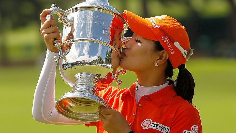 So Yeon Ryu of South Korea poses with the trophy after winning in a playoff against Hee Kyung Seo of South Korea during the final round of the 2011 U.S. Women's Open.