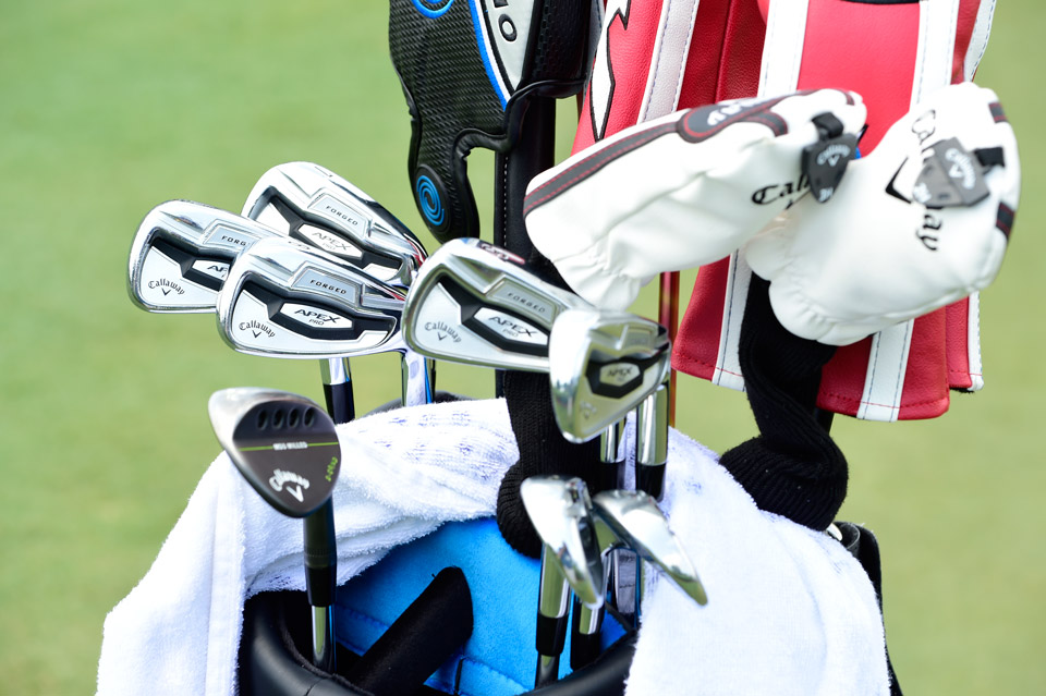Recent Tour winner Brian Stuard carries a full bag of Callaway clubs including Apex Pro forged irons and MD3 milled wedges.
