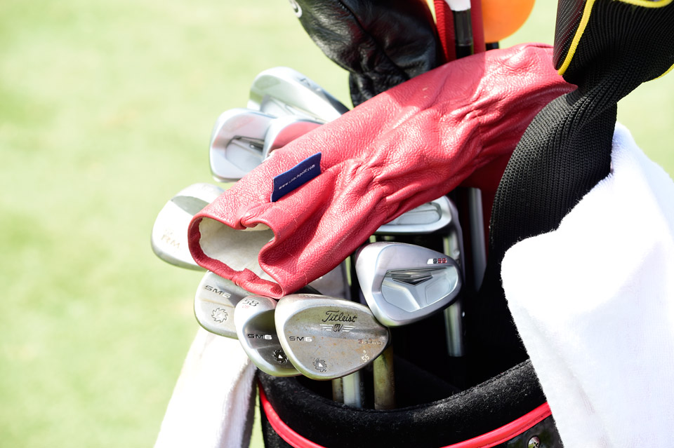 Under his red leather headcover is Hudson Swafford's Ping S55 irons and Vokey Design SM6 wedges.