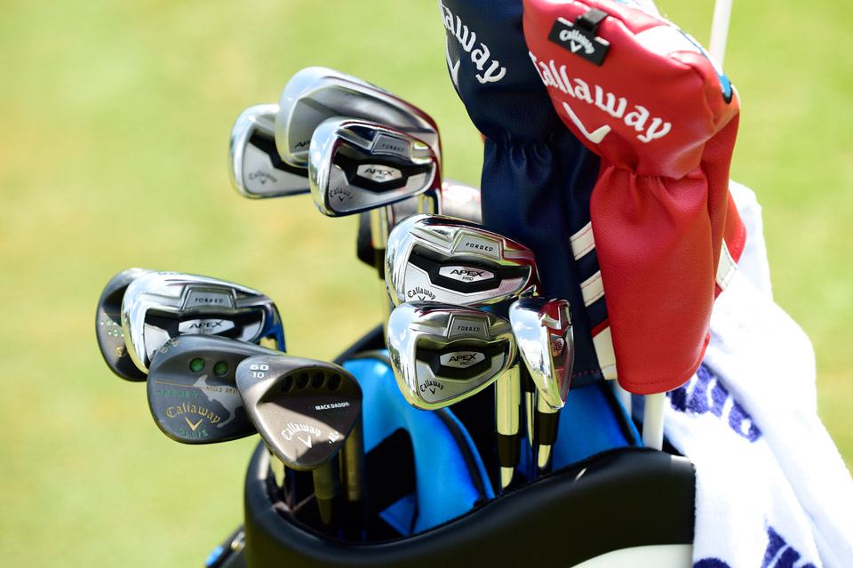 Australian Marc Leishman carries a full bag of Callaway sticks including new Apex Pro forged irons and MD3 Milled wedges complete with custom stamps of his children's names.