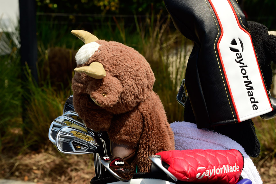 Spaniard Sergio Garcia carries TaylorMade Psi forged irons, Tour Preferred EF wedges, and a Spanish Bull headcover.