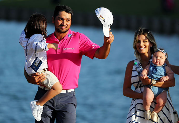 Jason Day celebrates with his wife Ellie, son Dash, and daughter Lucy after winning the 2016 Players Championship.