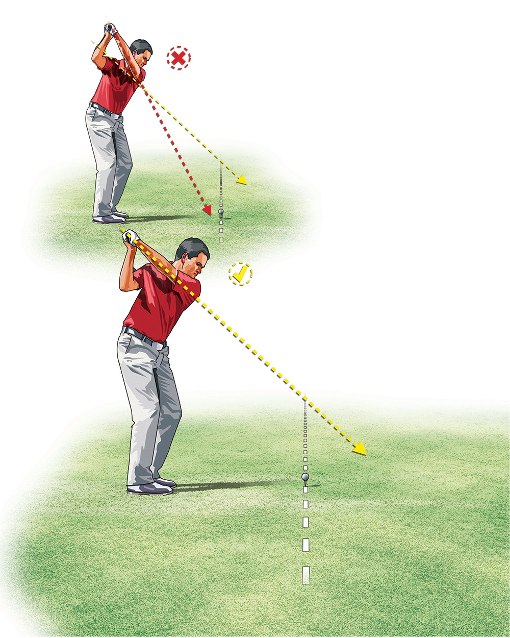 You'll know you're on plane when your left arm matches your shoulder line and your left elbow points outside your ball.