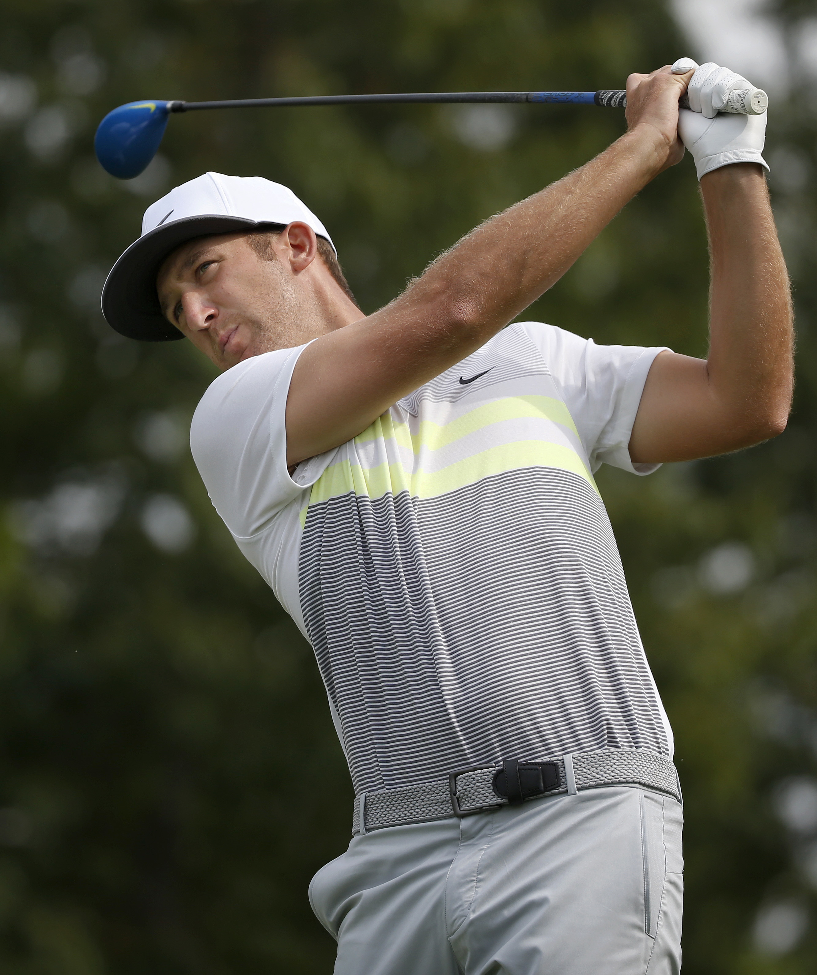 Kevin Chappell hits his tee shot on the 10th hole during the second round of the Deutsche Bank Championship golf tournament, Saturday, Sept. 3, 2016, in Norton, Mass. (AP Photo/Michael