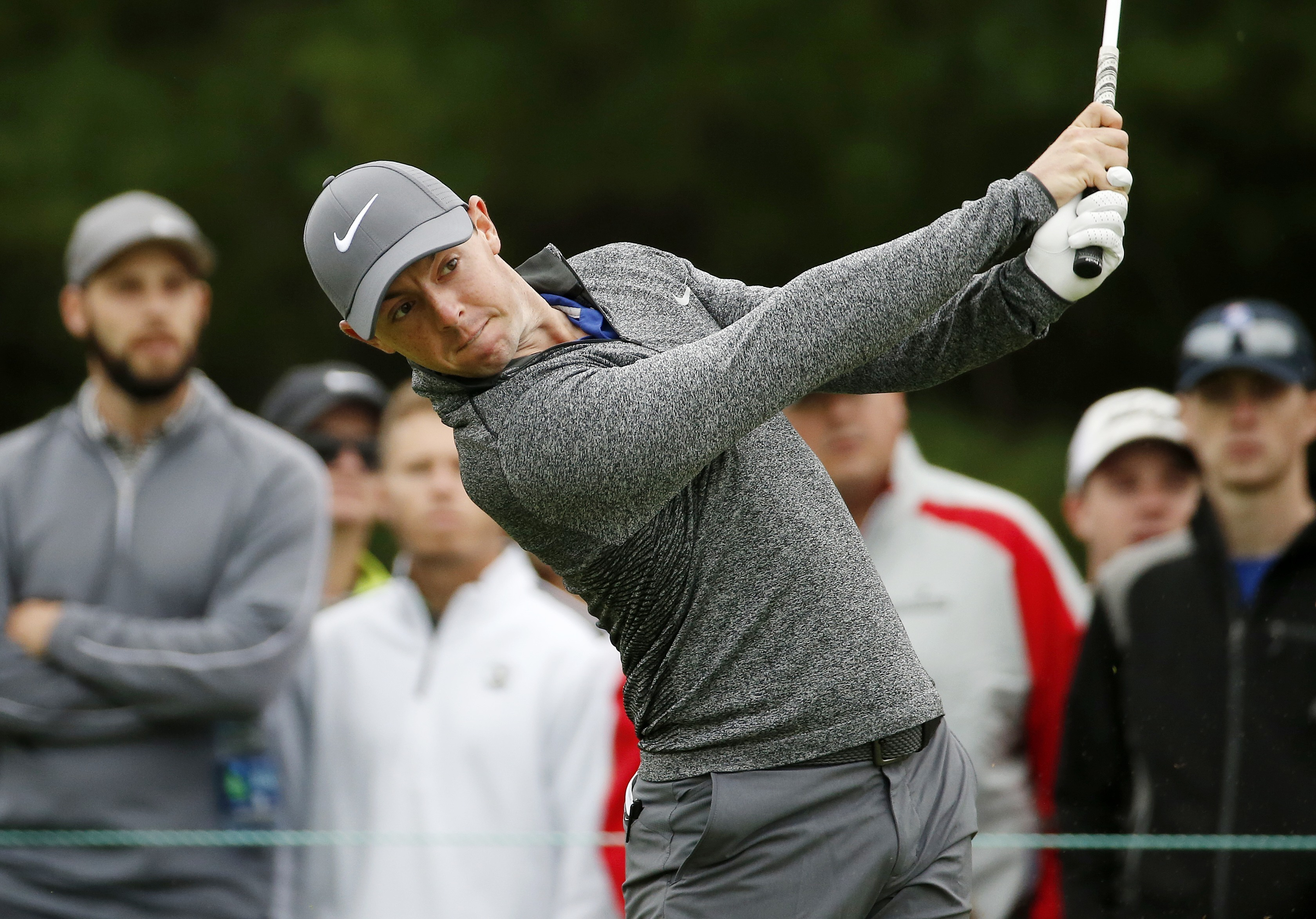 Rory McIlroy tees off on the third hole during the final round of the Deutsche Bank Championship.