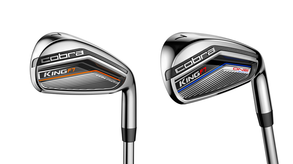 The new Cobra King F7 iron (left) and the King F7 One Length iron.