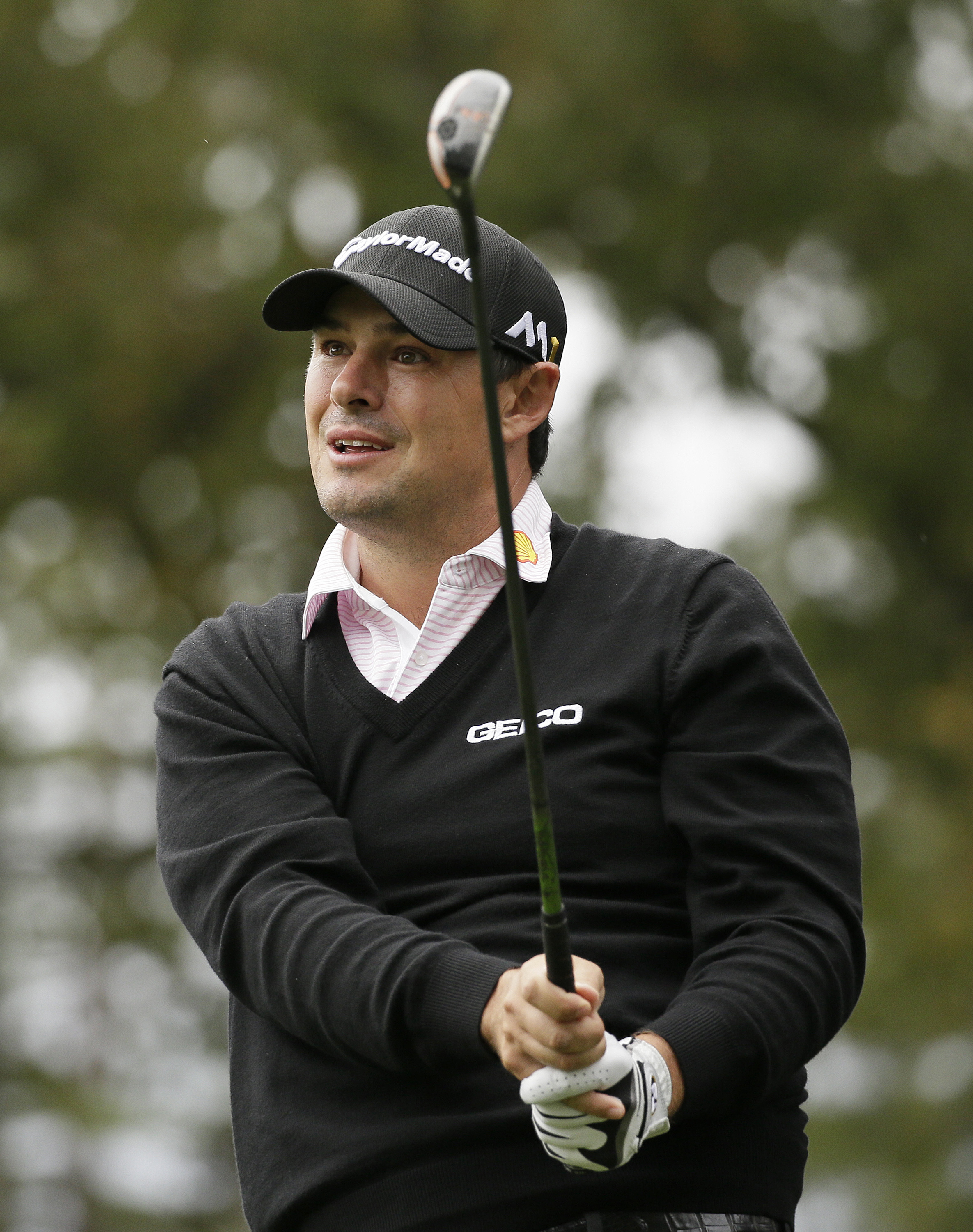 Johnson Wagner follows his shot from the seventh tee of the Silverado Resort North Course during the third round of the Safeway Open PGA golf tournament Saturday, Oct. 15, 2016, in Napa, Calif. (AP Photo/Eric