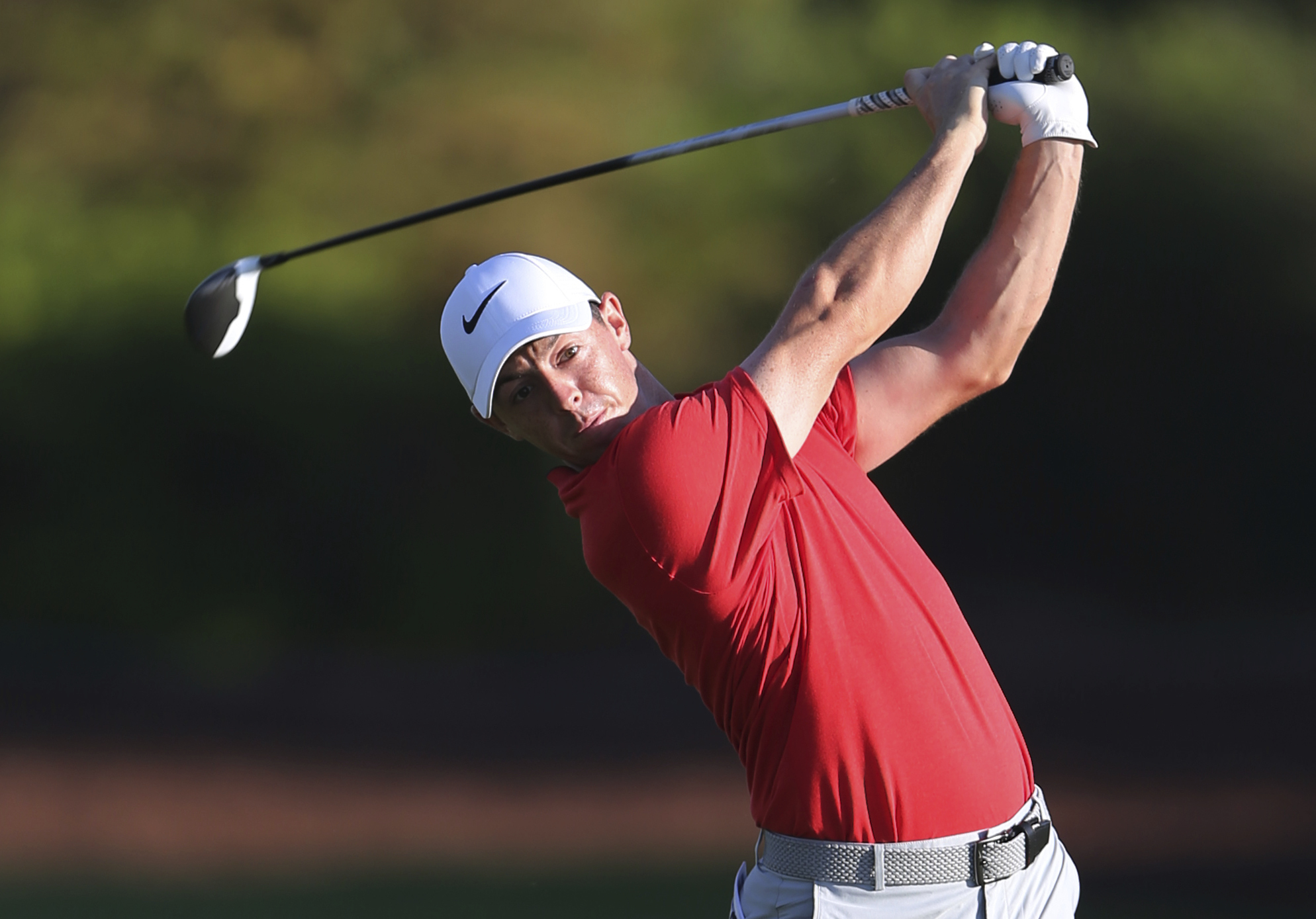 Rory McIlroy hits his drive during the 2nd round of the DP World Tour Championship in Dubai.