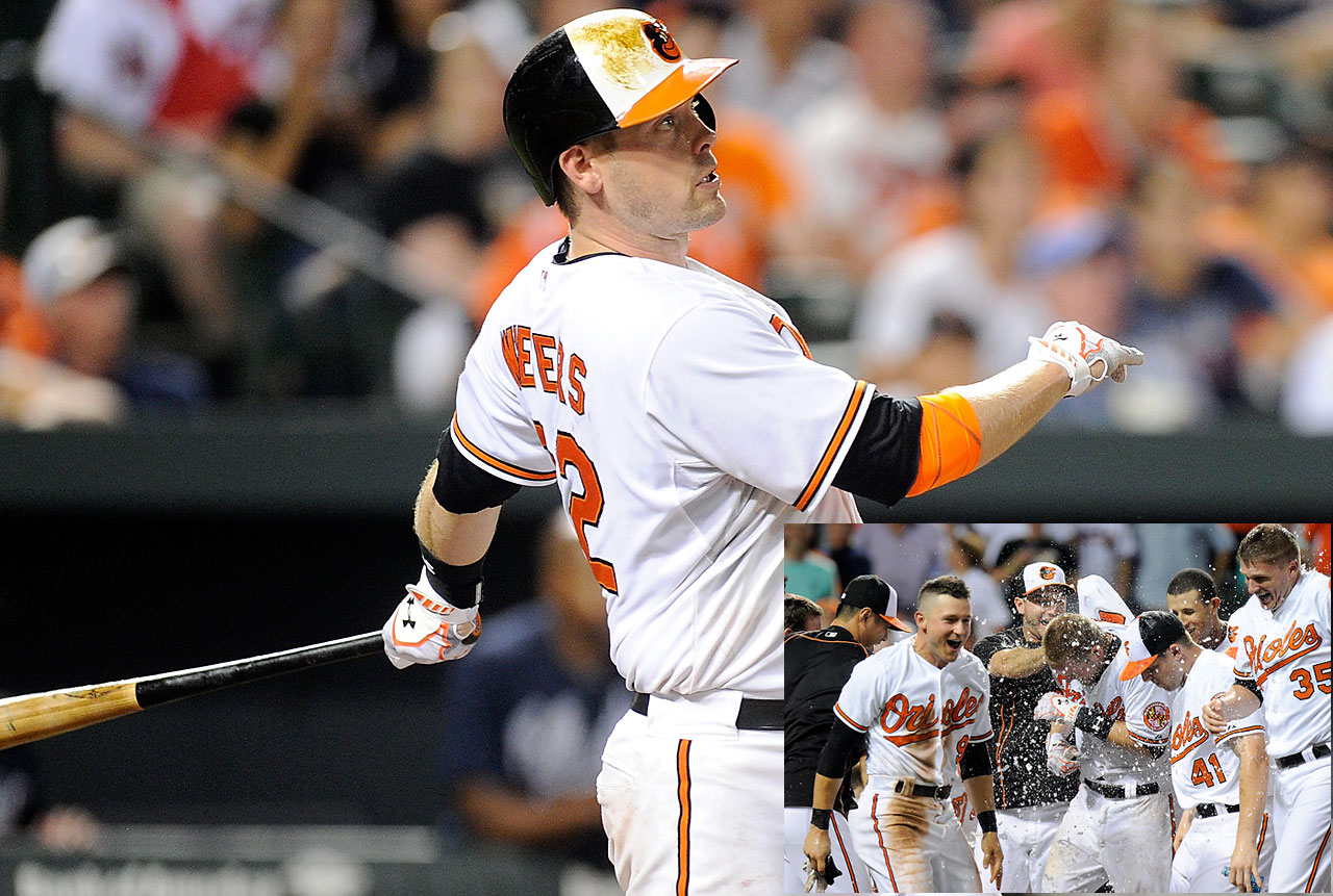 Matt Wieters belted a solo shot in the 11th inning of a 2-1 victory over the Atlanta Braves on July 27.
