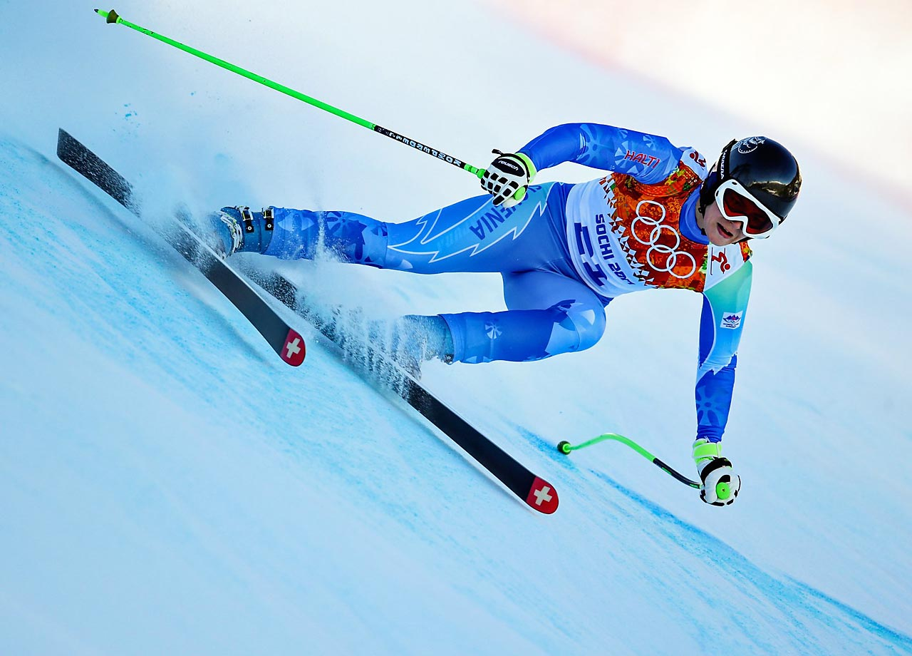 Tina Maze of Slovenia (pictured) and Dominique Gisin of Switzerland each won a gold medal Wednesday in the women's downhill.