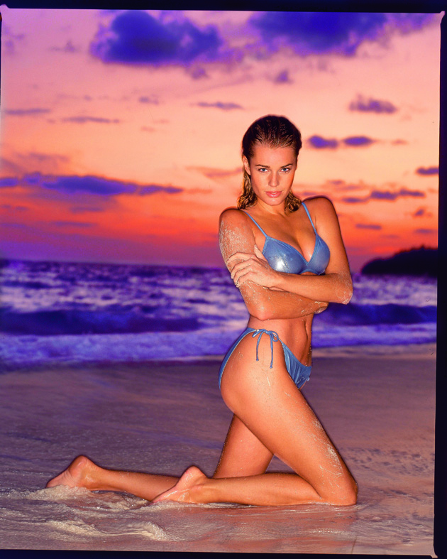 Rebecca Romijn at The Reefs resort on Christian Bay in Bermuda.