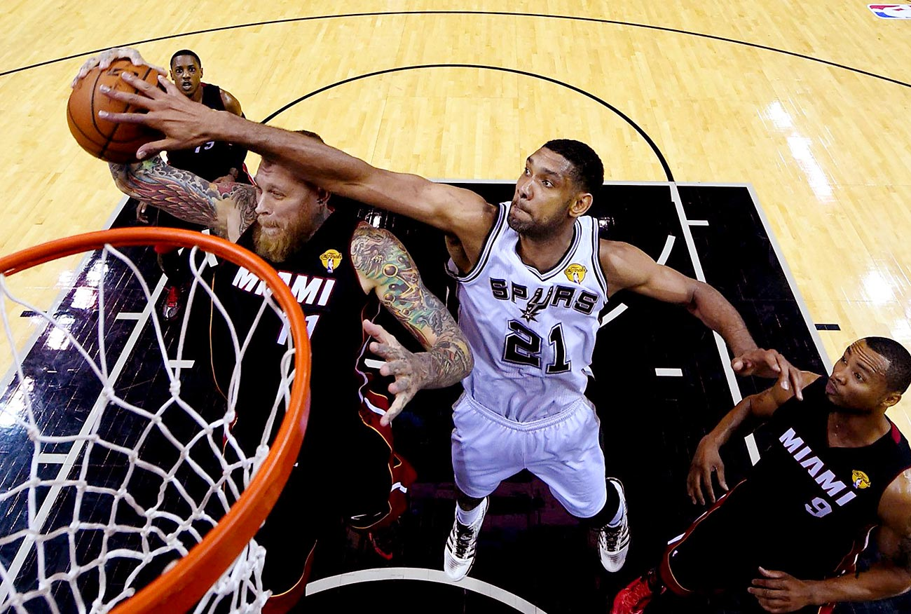 A year after an excruciating loss to the Miami Heat in the NBA Finals, Tim Duncan and the Spurs got their revenge, winning the title in five games.