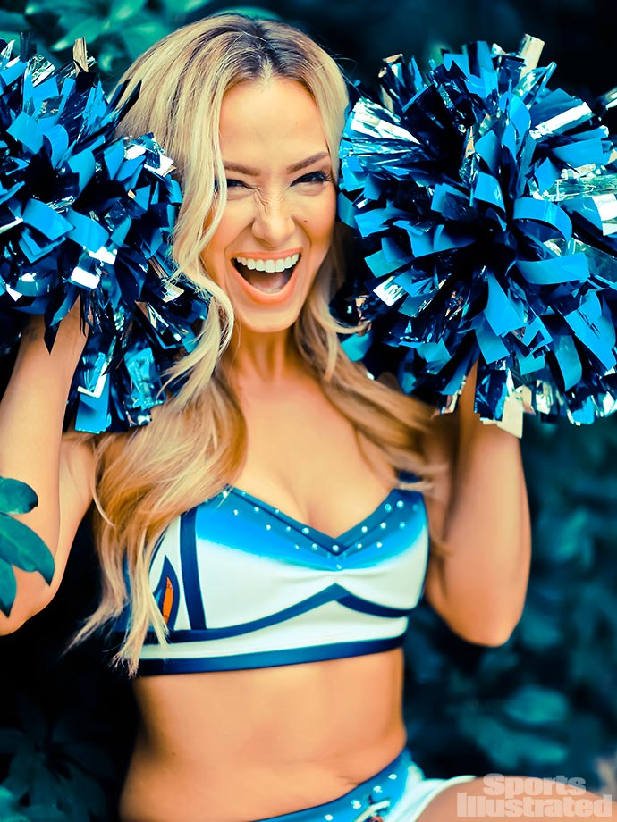 "Her most embarrassing moment?  ""My uniform top came unhooked right at the beginning of  a routine!! I did the whole number holding it up with a pompon in my hand."""