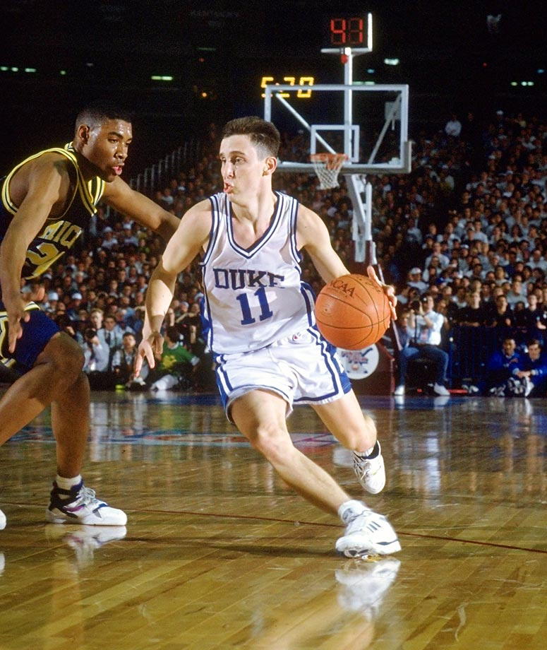 "Bobby Hurley (1989-1993): Hurley holds the NCAA career record for assists and led Duke to three national championship games and the first back-to-back NCAA titles in almost two decades in 1991 and '92. At the time, Mike Krzyzewski called Hurley's late three-pointer to cut a five-point deficit to two against UNLV in that seismic 1991 Final Four ""the biggest shot in the history of Duke basketball."""