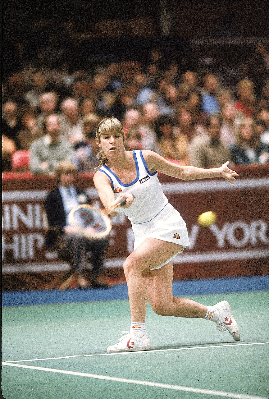 Evert at the Virginia Slims Championships at Madison Square Garden. Navratilova took home the title that year.