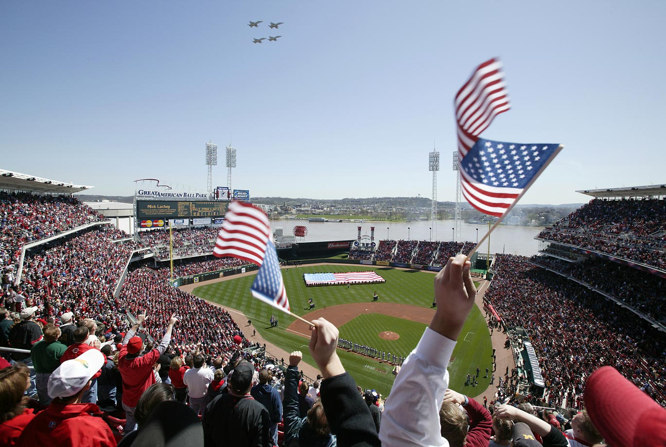 An Opening Day flyover at Cincinnati's Great American Ballpark on April 5, 2004, before the Reds took on the Cubs.