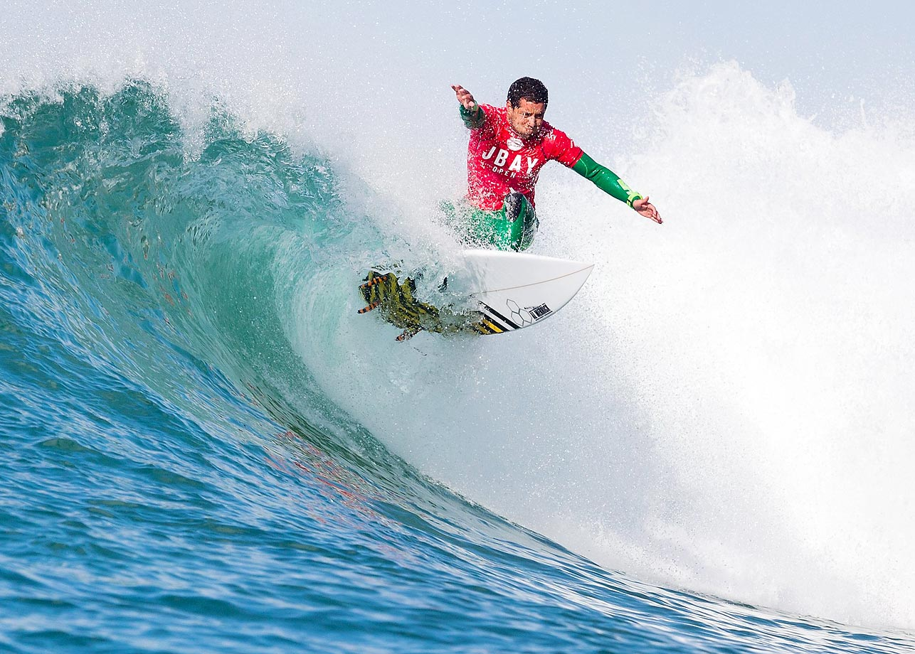 Brazilian surfer Adriano de Souza rides a wave during Round Five of the J-Bay Open at Jeffreys Bay, South Africa.