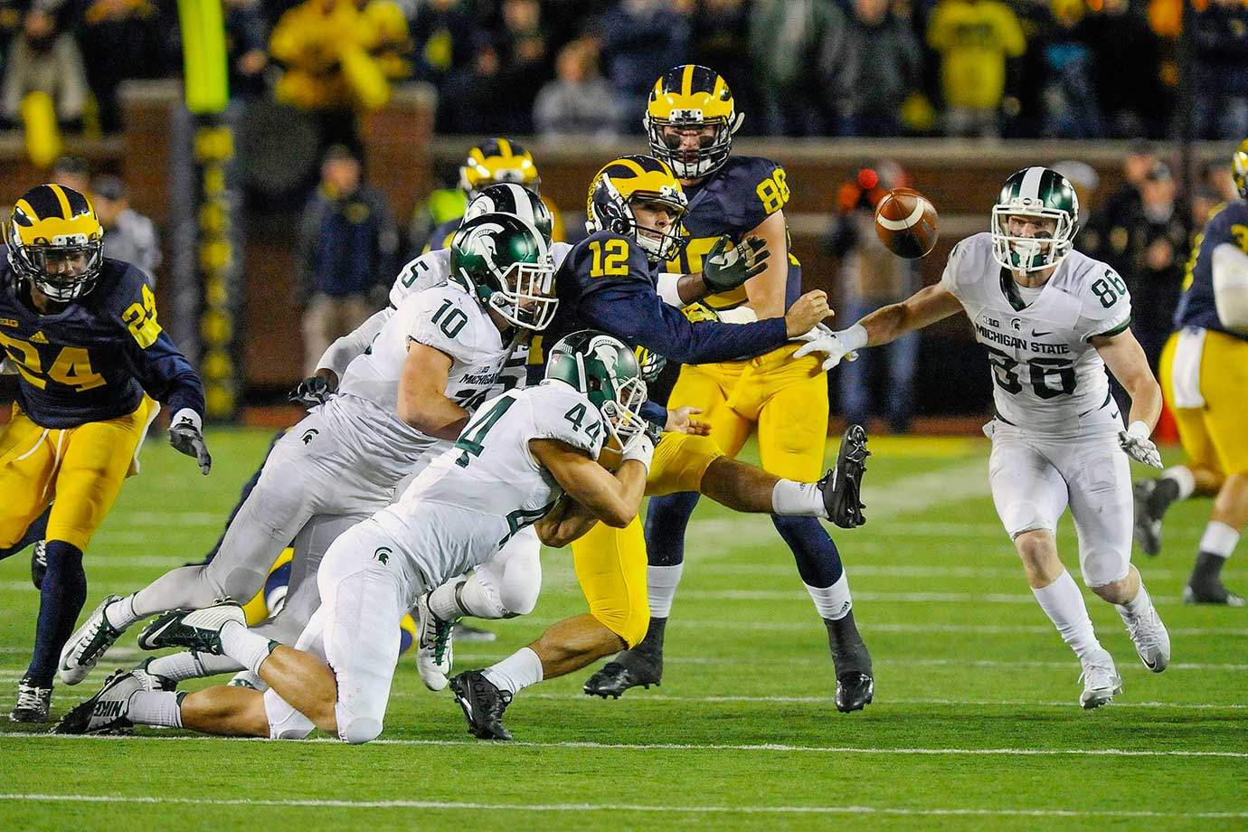 Hope. Horror. Heartbreak. Those three words sum up one of the craziest endings of the 2015 season. Up 23–21 with 10 seconds to go—and after leading the Spartans all game—Michigan chose to punt on 4th-and-short. But the Wolverines botched the kick, and the Spartans' Jalen Watts-Jackson scooped up the loose ball and raced to the end zone for the winning score.