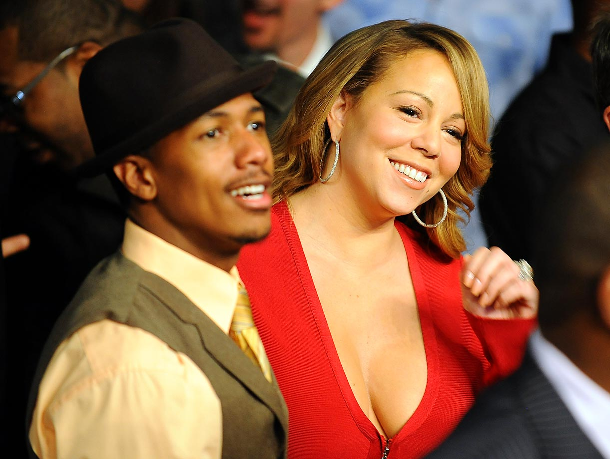 Grammy winner Mariah Carey and husband Nick Cannon watched the Floyd Mayweather Jr.-Shane Mosley fight.