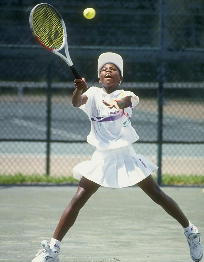 Serena Williams playing tennis in Florida in 1992.