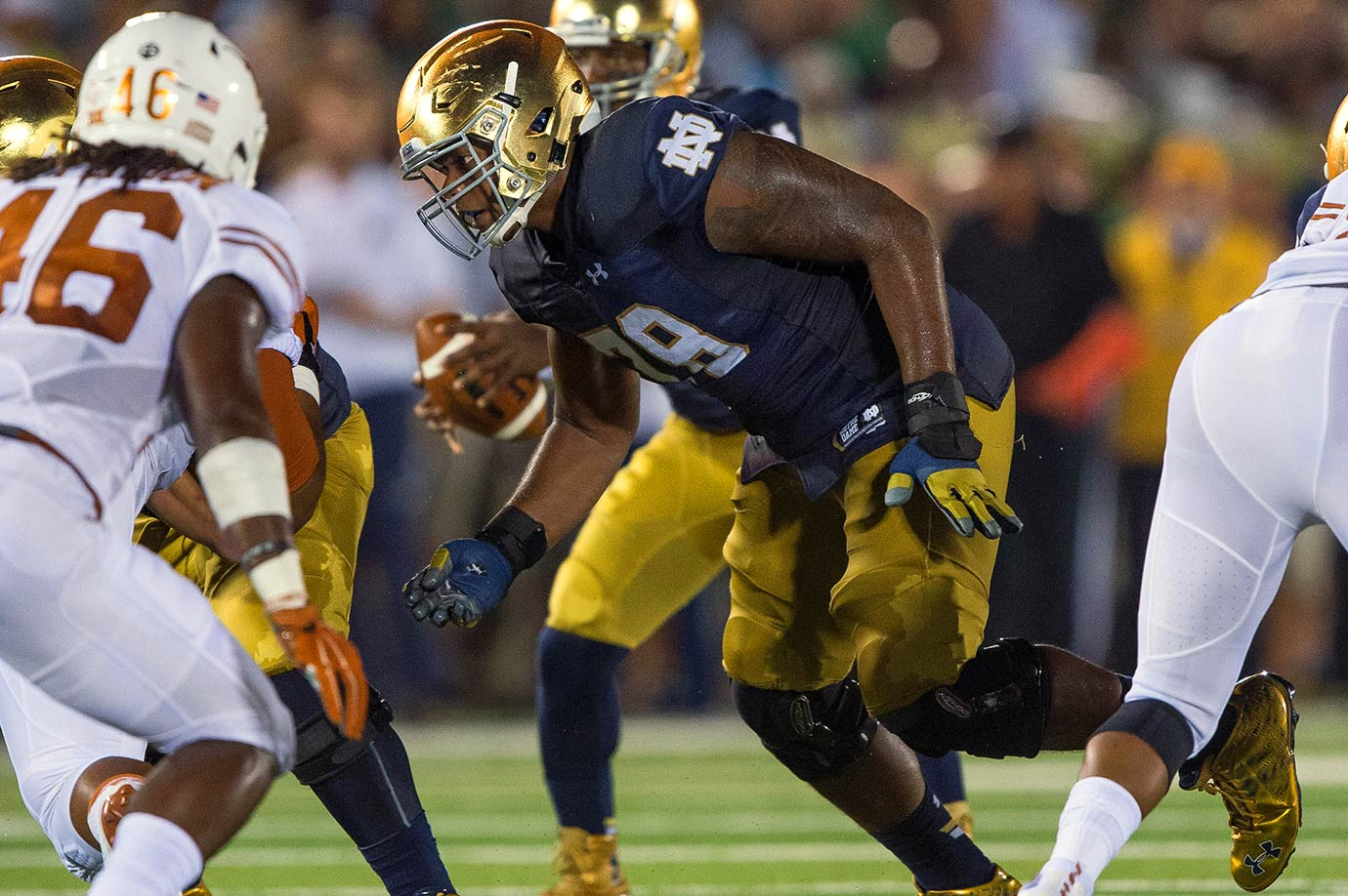 Splitting hairs between Stanley and Tunsil. If they both turn pro, as expected, count on them jockeying for position near the top of the draft—the No. 1 pick is in play for both. Stanley's size and footwork had him on the NFL radar for the 2014 draft before he opted to stay at Notre Dame. He should be a long-term answer at left tackle.