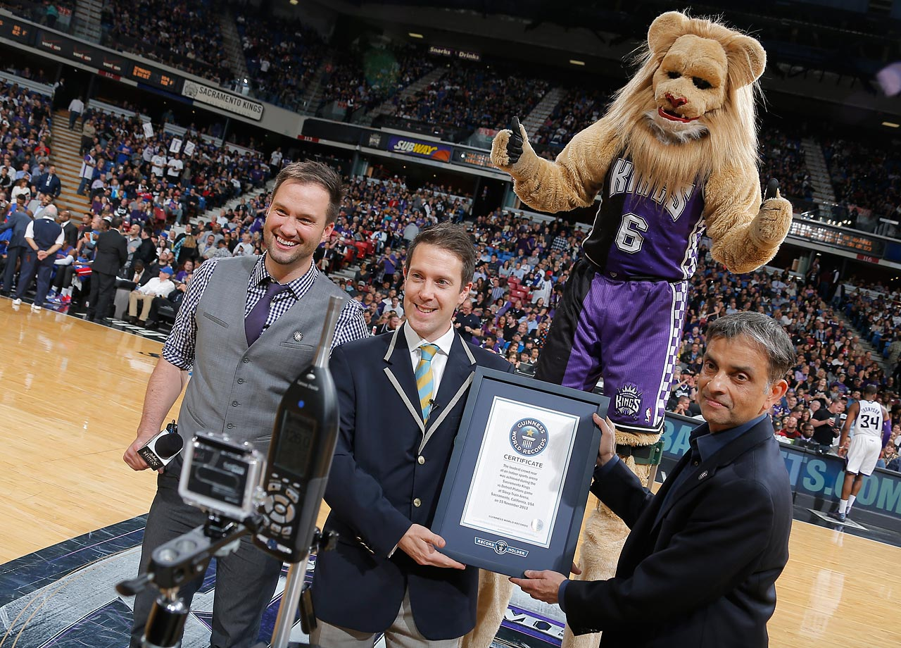 Sacramento Kings fans break their own Guinness World Record, set earlier in the night, during the fourth quarter of the Sacramento Kings against the Detroit Pistons at Sleep Train Arena on Nov. 15, 2013 in California.