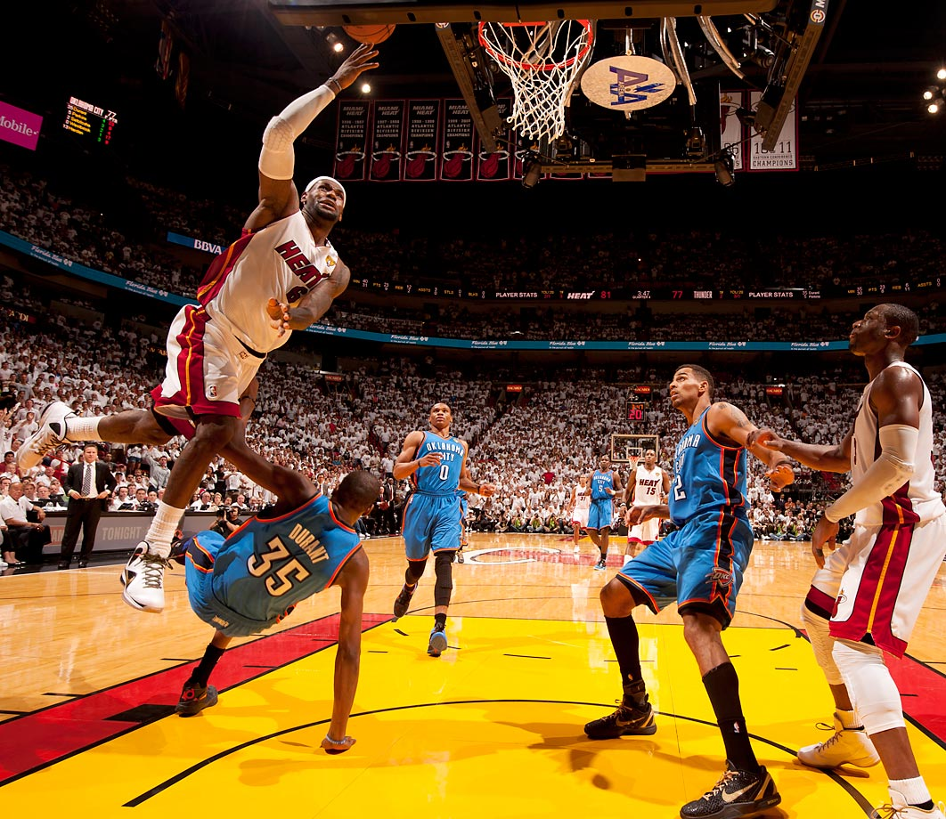 LeBron James soars over Kevin Durant in Game 3. James got the championship monkey off his back in a big way, averaging 28.6 points, 10.2 rebounds and 7.4 assists in the series.