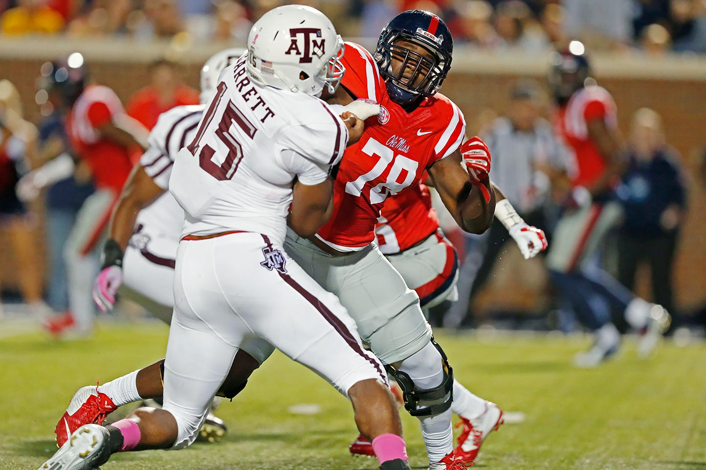 Tunsil sat out the first seven games of 2015 as the NCAA investigated alleged dealings with an agent. He stepped right back into the lineup in the Rebels' game against Texas A&M and excelled against likely 2017 top prospect Myles Garrett. The Ole Miss product plays with a little more punch than Stanley. The preference here still is Stanley by the slimmest of margins, but both prospects have the look of future All-Pros.