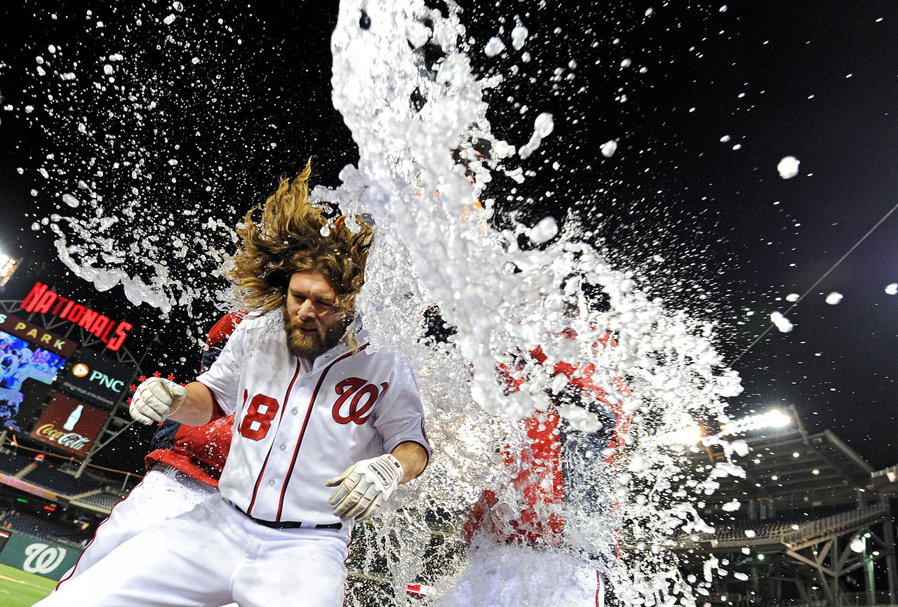 Jayson Werth is doused by teammates following the Nationals 5-4 win over the Angels. Werth knocked in two runs with a double in the ninth inning to tie the game and then scored the game-winning run.