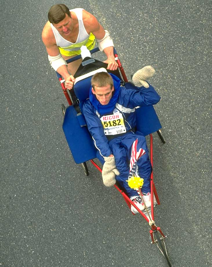 Dick Hoyt pushing his son Rick in the Wheelchair Division race of the 1991 Boston Marathon.